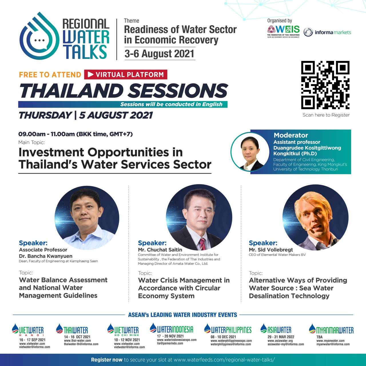 """Join FREE """"Investment Opportunities in Thailand's Water Services Sector"""" at REGIONAL WATER TALKS 5 August 2021"""